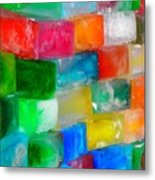 Colored Ice Bricks Metal Print
