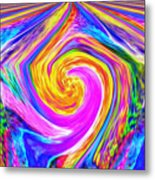 Colored Lines And Curls Metal Print