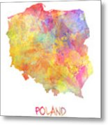 Colored Map Of Poland Metal Print