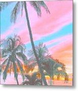 Colored Palms Metal Print