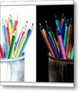 Colored Pencils - The Positive And The Negative Metal Print