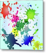 Colored Splashes On A Very Beautiful Blue Background Metal Print