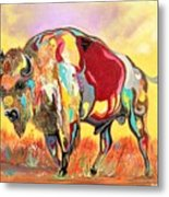 coloredd Buffalo Metal Print