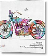 Colorful 1928 Harley Motorcycle Patent Artwork Metal Print
