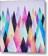 Colorful Abstract Geometric Triangle Peak Woods  Metal Print