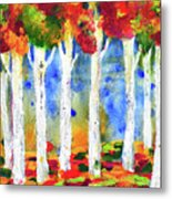 Colorful Aspen Trees View Metal Print
