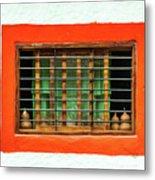 Colorful Bared Window Metal Print