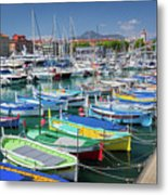 Colorful Boats Docked In Nice Marina, France Metal Print