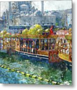 Colorful Boats In Istanbul Turkey Metal Print