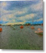 Colorful Boats On Cloudy Day At Boothbay Harbor Metal Print