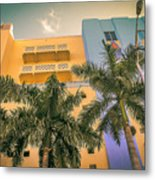 Colorful Building And Palm Trees Metal Print