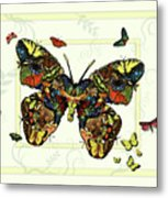Colorful Butterfly Collage Metal Print