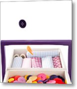 Colorful Buttons Fall Into A Sewing Box Metal Print