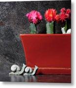Colorful Cactus In Terracotta Pot Metal Print