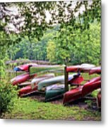 Colorful Canoes At Hungry Mother State Park Metal Print