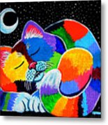 Colorful Cat In The Moonlight Metal Print