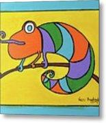 Colorful Chameleon Metal Print