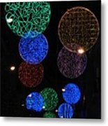 Colorful Christmas Lights Decoration Display In Madrid, Spain. Metal Print