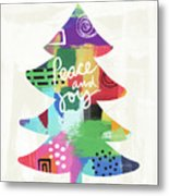 Colorful Christmas Tree- Art By Linda Woods Metal Print