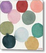 Colorful Circles Abstract Watercolor Metal Print
