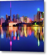 Colorful Cn Tower  Metal Print