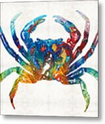 Colorful Crab Art By Sharon Cummings Metal Print