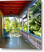 Colorful Creole Porch Metal Print by Carol Groenen