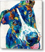 Colorful Dog Art - Happy Go Lucky - By Sharon Cummings Metal Print