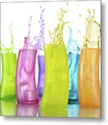Colorful Drink Splashing From Glasses Metal Print