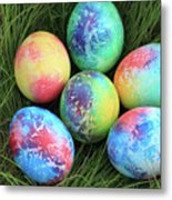 Colorful Easter Eggs On Green Grass Metal Print