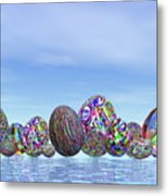 Colorful Eggs For Easter - 3d Render Metal Print