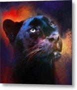 Colorful Expressions Black Leopard Metal Print