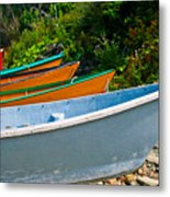 Colorful Fishing Boats On A Rocky Shore  Grand Manan Metal Print