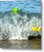Colorful Flowers Crashing Inside A Wave Against The Shoreline Metal Print