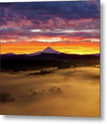 Colorful Foggy Sunrise Over Sandy River Valley Metal Print