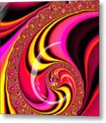 Colorful Fractal Spiral Red Yellow Pink Metal Print