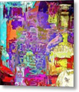 Colorful Glass Bottles Abstract Metal Print