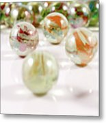 Colorful Glass Marbles Close-up Views Metal Print