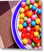 Colorful Gumballs On Plate Metal Print