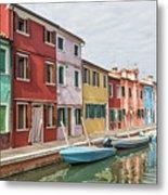 Colorful Houses On The Island Of Burano Metal Print