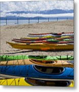 Colorful Kayaks Metal Print