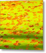 Colorful Leaves On Canal Metal Print