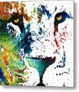 Colorful Lion Art By Sharon Cummings Metal Print