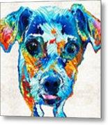 Colorful Little Dog Pop Art By Sharon Cummings Metal Print