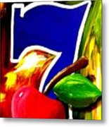 Colorful Lucky Seven Slot Machine Casino Decor With Cherry Metal Print