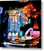 Colorful Machine In Blue And Purple Metal Print