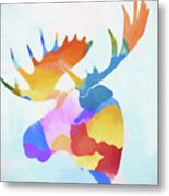 Colorful Moose Head Metal Print