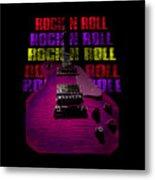 Colorful Music Rock N Roll Guitar Retro Distressed T-shirt Metal Print