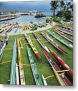 Colorful Outrigger Canoes Metal Print