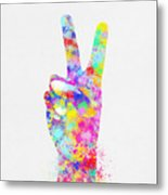 Colorful Painting Of Hand Point Two Finger Metal Print